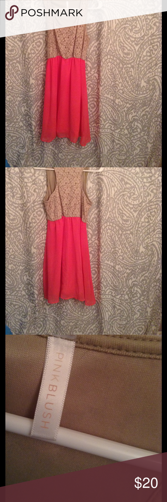 """Pinkblush maternity dress 👗 Cute Pinkblush maternity dress with tan lace racer back top and coral chiffon bottom. Only worn twice. Perfect paired with sandals for your baby shower! I'm 5'6"""" and it was knee length. Pinkblush Dresses"""