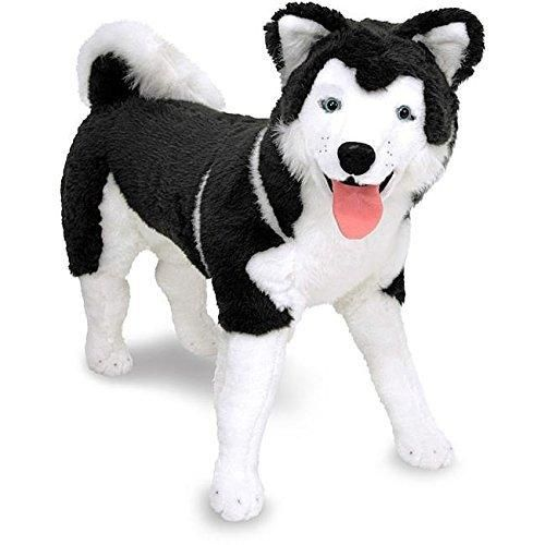 30 Inches Black White Color Siberian Husky Animal Stuffed Toy