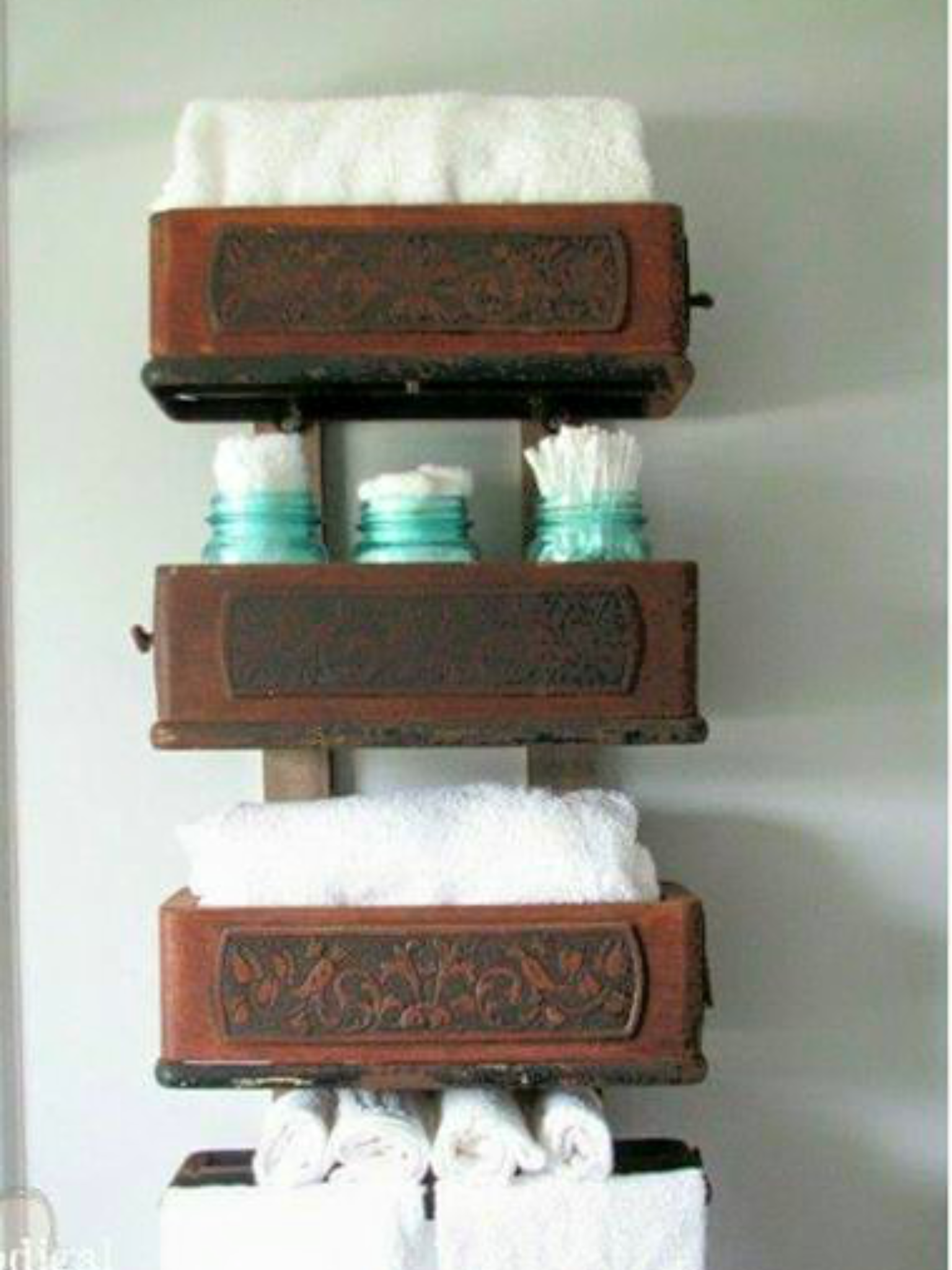 Sewing machine drawer shelves