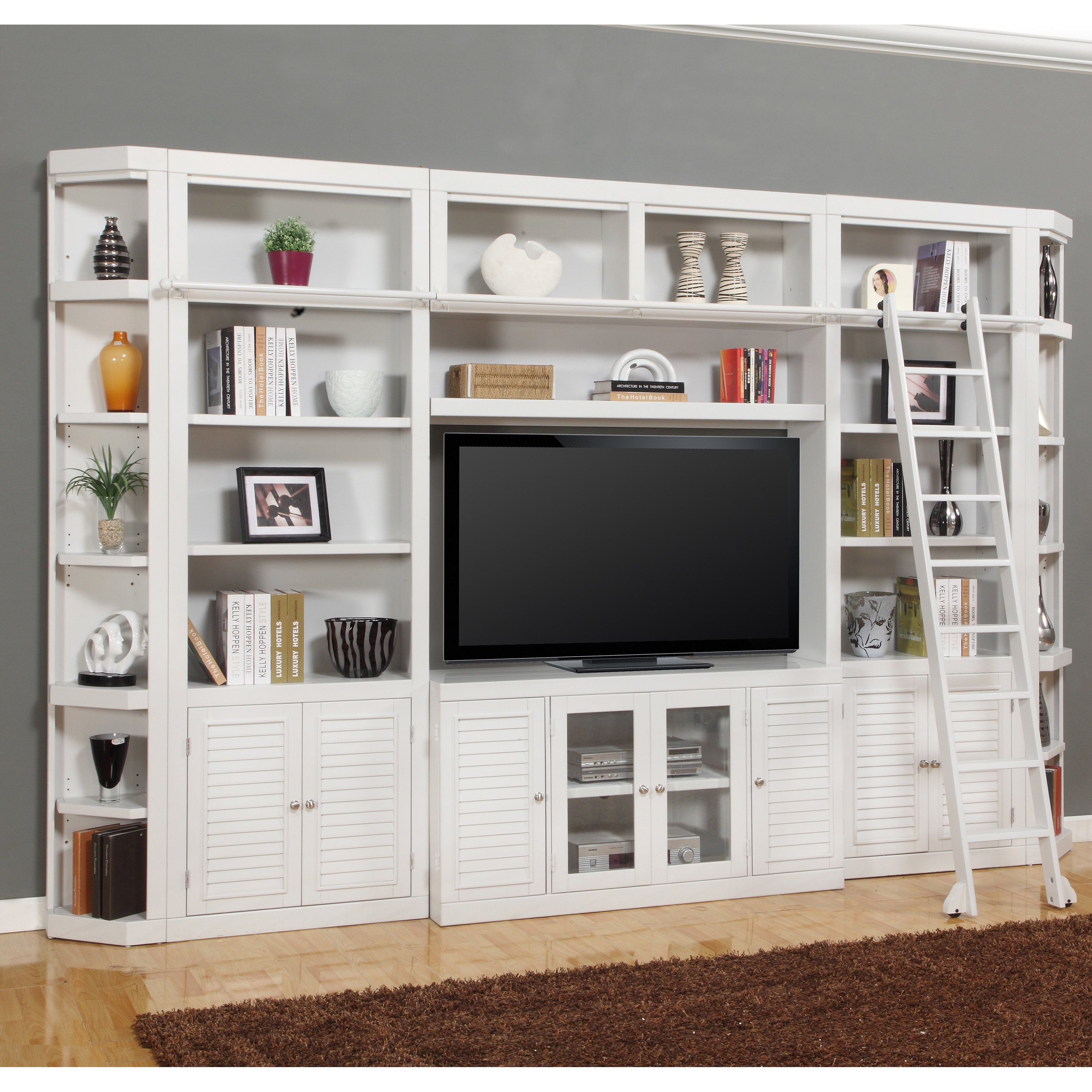 Parker House Boca Library Wall Entertainment Center Bookcase  Cottage