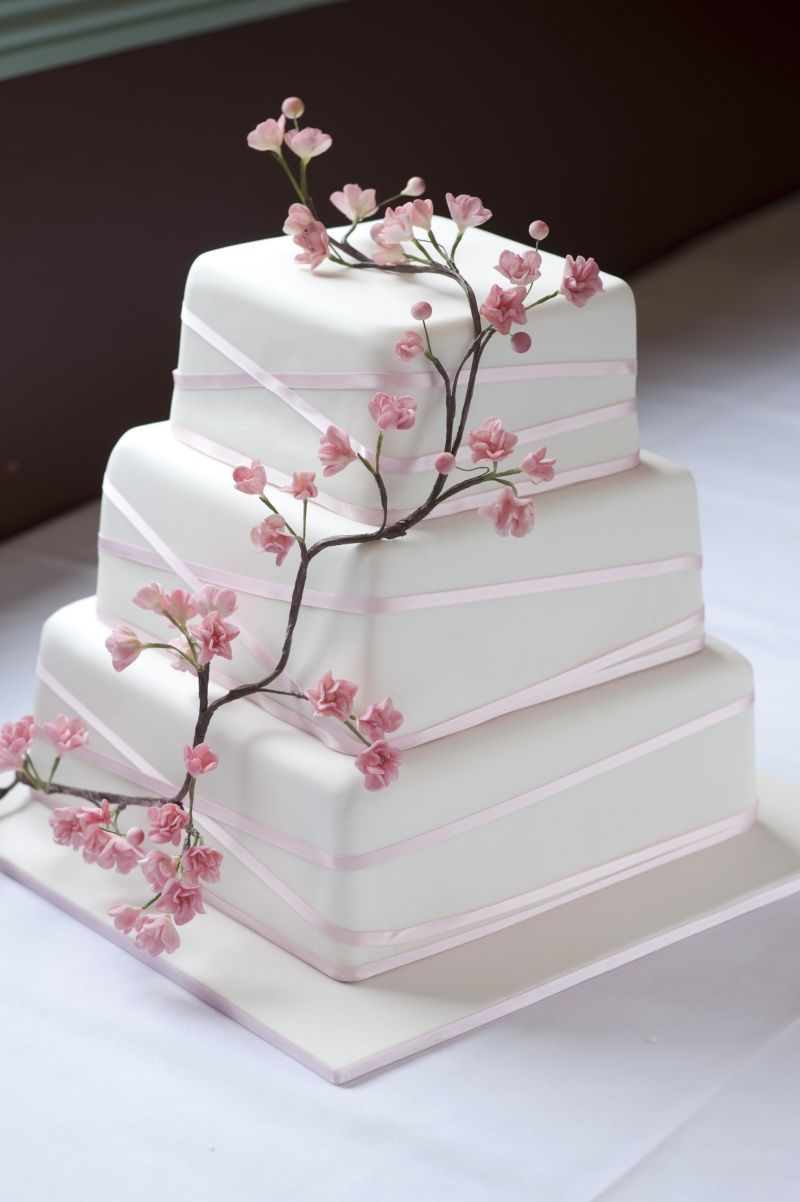 Without The Twig Flowers And With Pink Orange Ribbons Cake