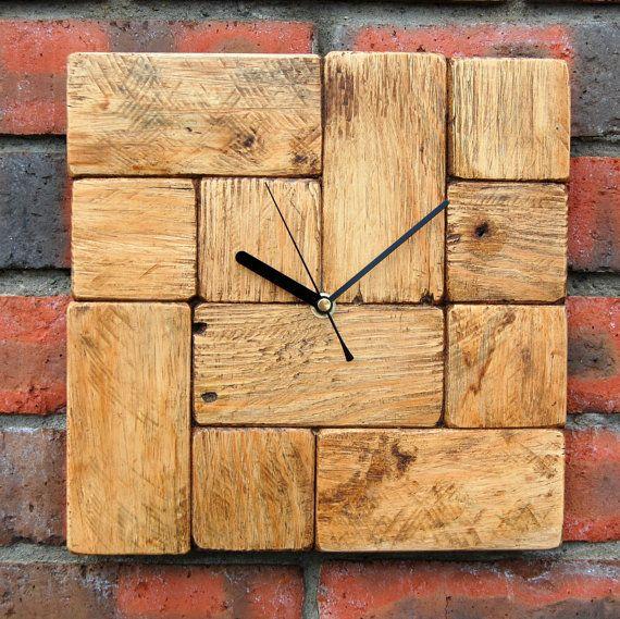 pallet hout tetris stijl wandklok - Tetris Planken