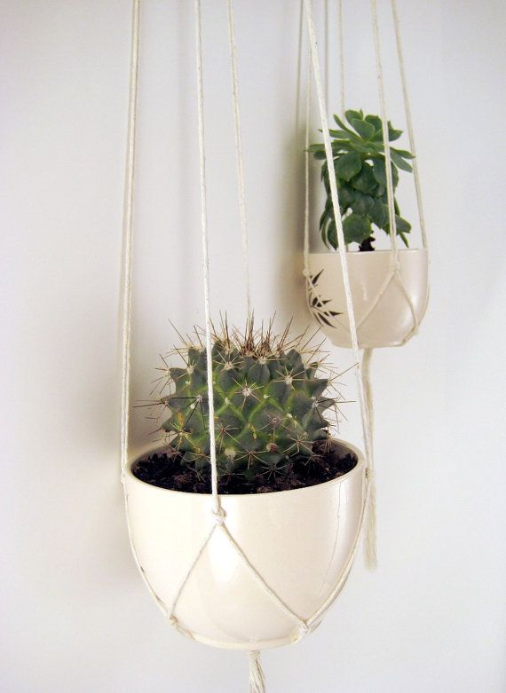minimalist plant hangers no beads set of 2 x cotton. Black Bedroom Furniture Sets. Home Design Ideas
