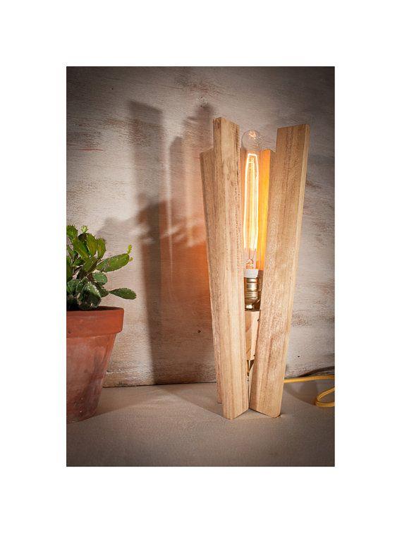 Wood table vintage edison lamp wood lamp industrial by EunaDesigns