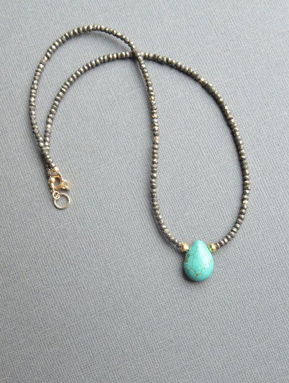 Photo of Pyrite Turquoise Necklace Beaded Boho Necklace Green | Etsy
