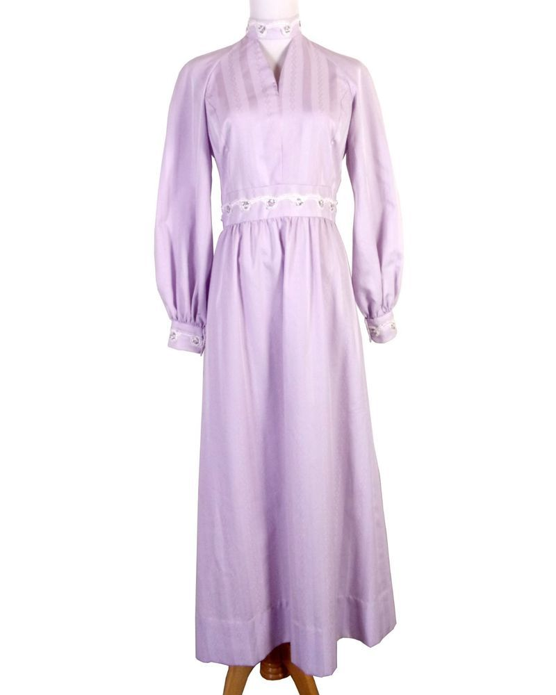 Vtg s s beautiful formal lavender embroidered prom dress choker