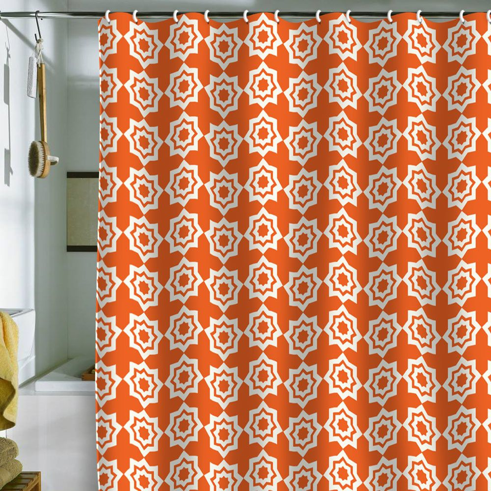 Khristian a howell moroccan mirage orange shower curtain in