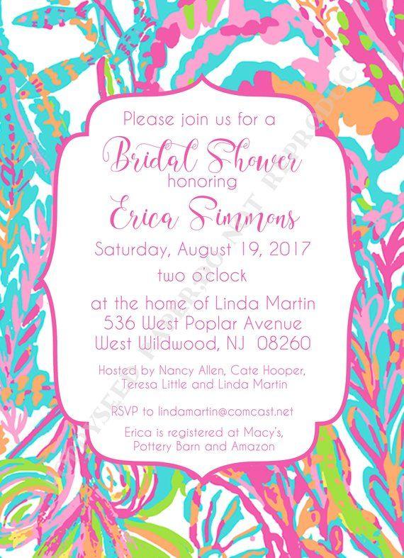 1081e89ba426 Lilly Pulitzer Bridal Shower Invitation- Personalized -Digital File or Printed  Invitation- Double Si