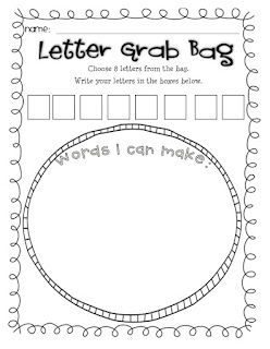 I like the idea of a letter grab bag for a center