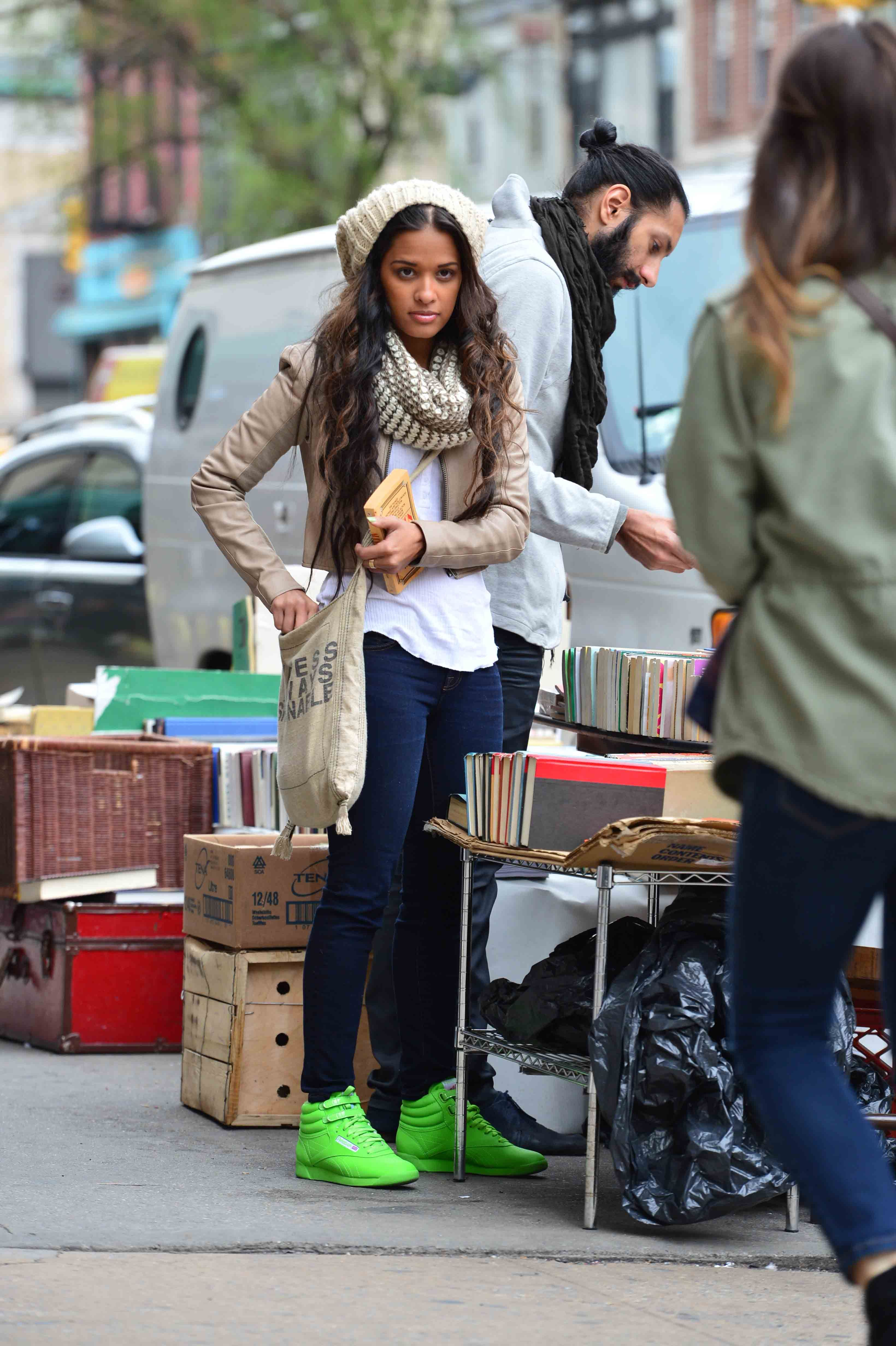info for ce3df 6fc55 Rocsi Diaz in a pair of lime 5411 s AKA Reebok Freestyle Hi Tops