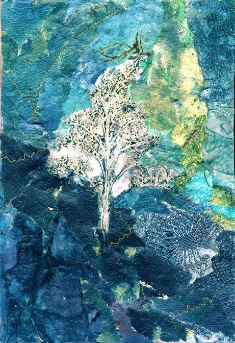 'Silver Tree' Rosie Britton, Mixed Media Collage