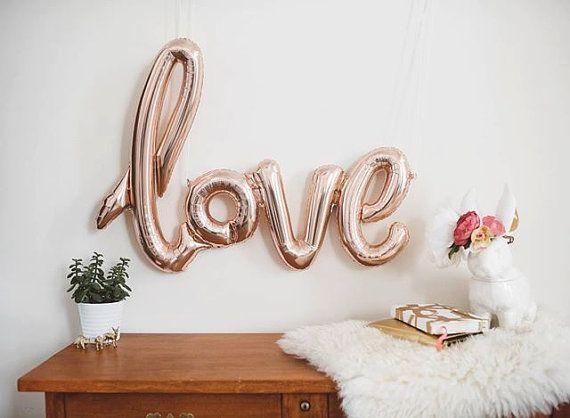 Rose Gold Love Balloon – 47″ Script – ( Blush Pink Gold Mylar Foil Love Balloons ) – Wedding, Bridal Shower, Bachelorette Party Light Pink