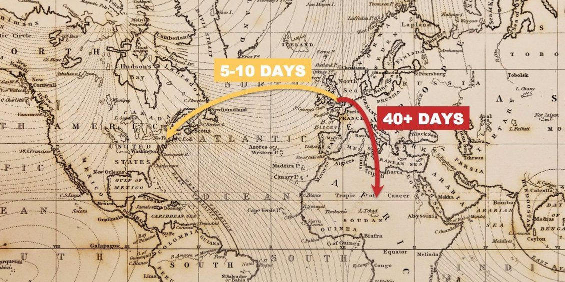 Animated map shows the time it took to travel the world 100 years video it took over a month to get to south korea gumiabroncs Choice Image