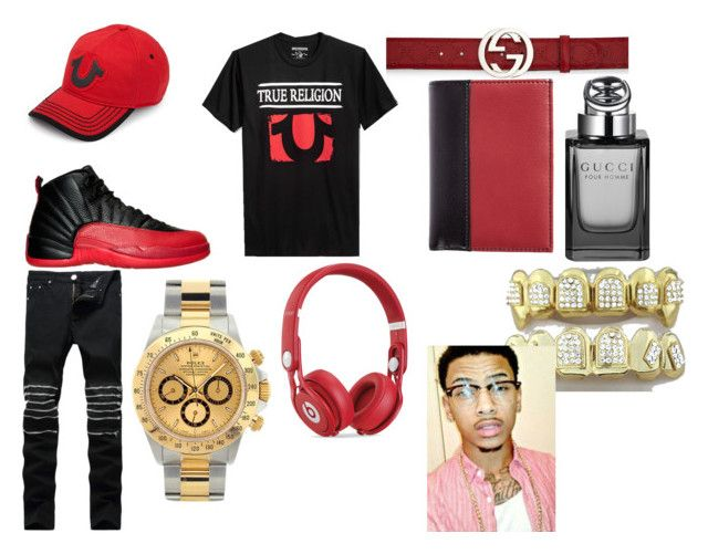"""""""Gucci Aman"""" by lilbirdaman on Polyvore featuring NIKE, True Religion, Rolex, Gucci, Beats by Dr. Dre, Luca Chiara, men's fashion and menswear"""