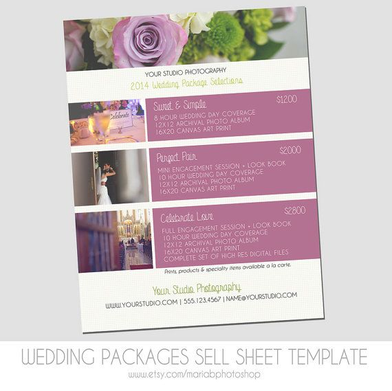 Sell Sheet Collections or Packages Pricing by MariaBPhotoShop - wedding flyer