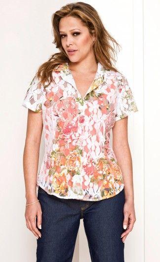 Camisete Renda Floral | Calça Jeans com Elástico