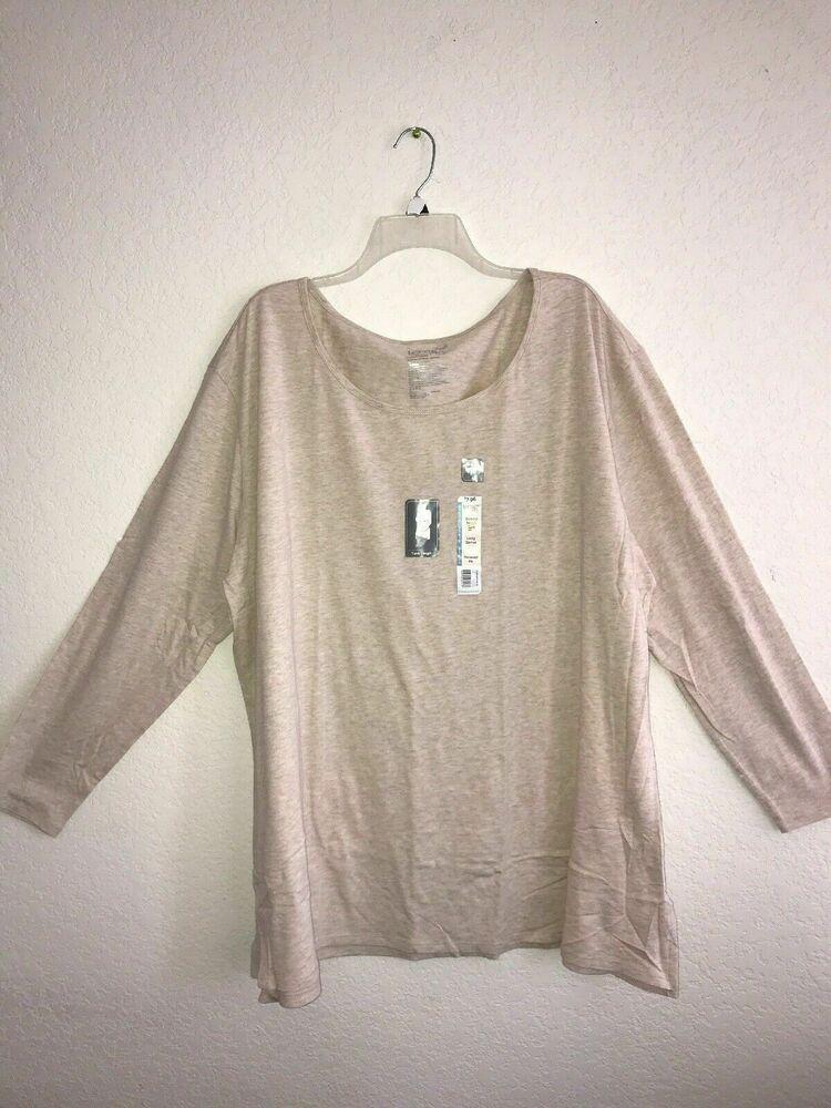 NWT Terra And Sky Women's 2x 20w-22w Coral Stripe Sleeve Shirt Generous Fit