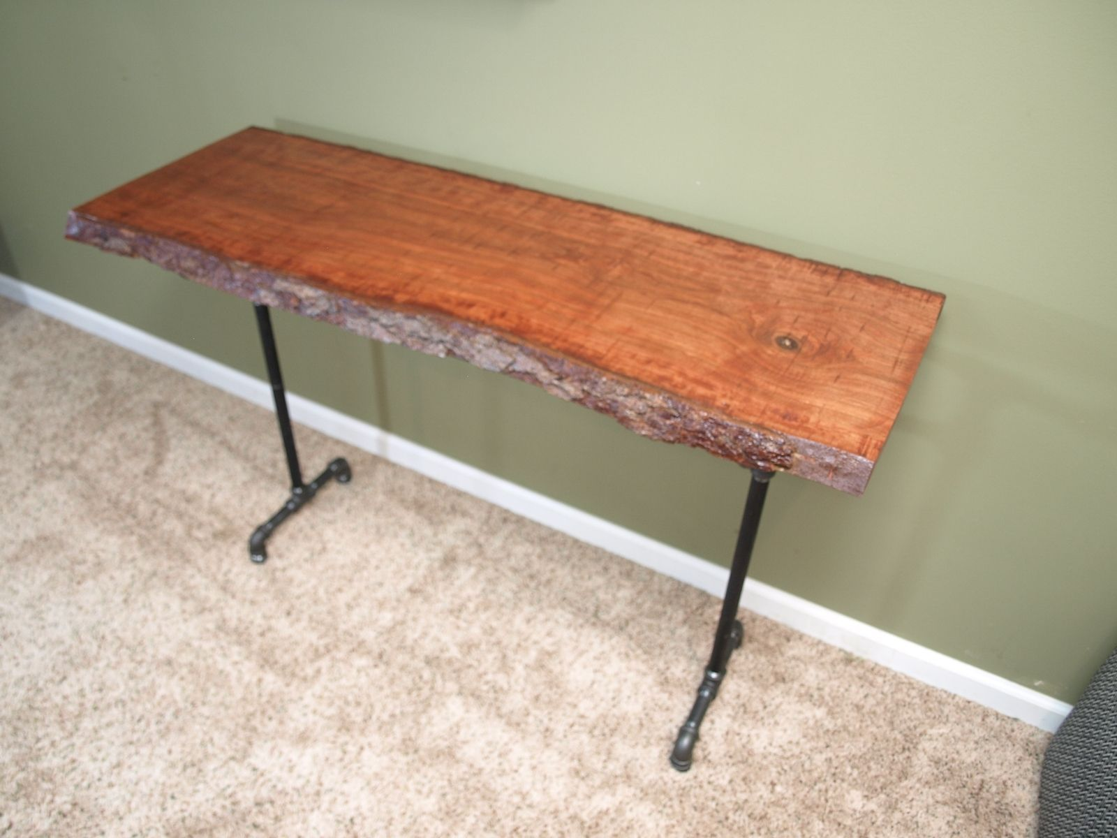 Beautiful Custom Made Console Table With Live Edge Cherry Slab And Black Iron Pipe