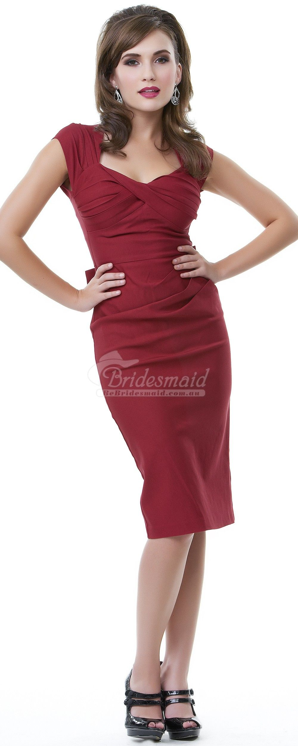 Vantage columnsheath satin knee length bridesmaid dress with