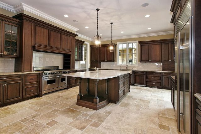 cabinet and lighting. love the stone floor color and pattern dark kitchen cabinets with light floors cabinet lighting