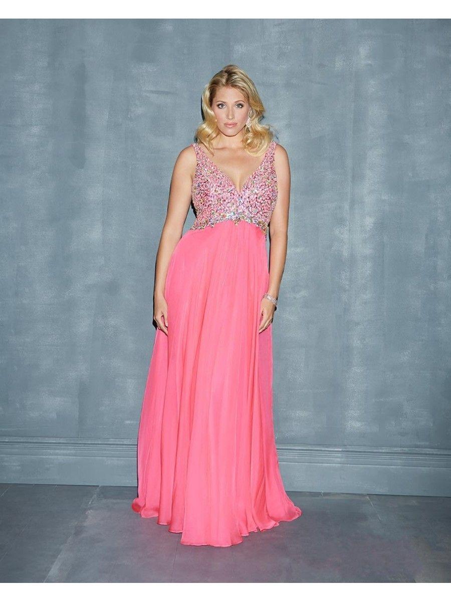 Column Beaded Straps Sleeveless Plus Size Long Chiffon Prom ...