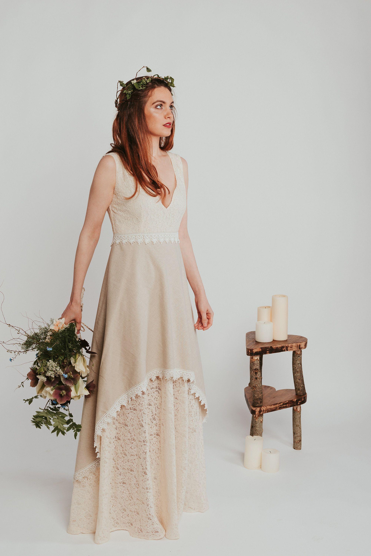 Danu Wedding Dress Linen Wedding Dress Celtic Fusion Natural Wedding Dress Celtic Wedding Dress Reinassance Dress Custom Made Pagan Linen Wedding Dress Nature Wedding Dress Wedding Dresses