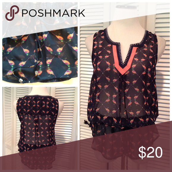 """Bird print top New with tags adorable bird print blouse. Navy blue sheer material with drawstring waistband and high low hemline. Brand is Signature Studio. Size S: 19""""UA, 26""""L in front, 29""""L in back. Tops Blouses"""