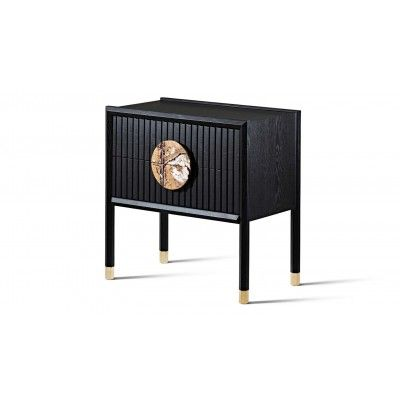 Halo Solid Timber Bedside Tables With Marble Handle Furniture