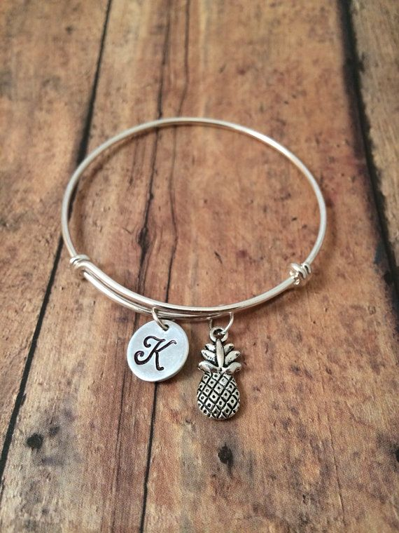 Pineapple initial bangle pineapple jewelry fruit jewelry who wants to get me this for graduation pineapple charm bracelet mozeypictures Images
