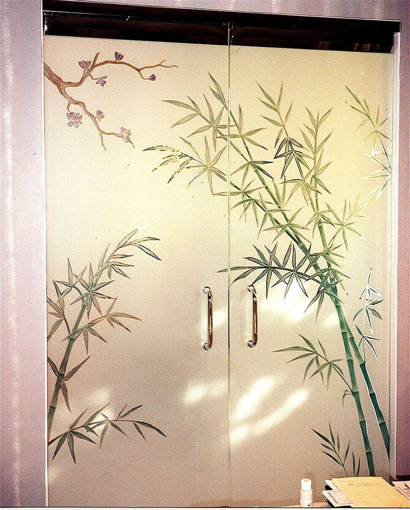 Bathroom luxury with interior glass doors sans soucie - Bamboo Forest Frameless Glass Doors Frameless Glass Doors With Custom Etched Glass Designs By Sans Soucie Get Privacy And Light Thru Stunning Art Glass