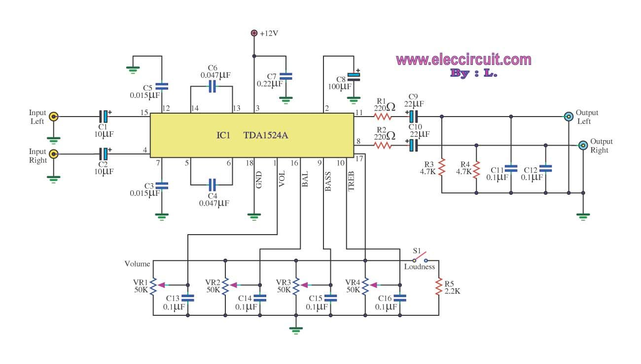 Stereo Tone Control Circuit Using Ic Tda1524a Eleccircuit Proyek 200m Fm Transmitter Electronic Circuits And Diagramelectronics