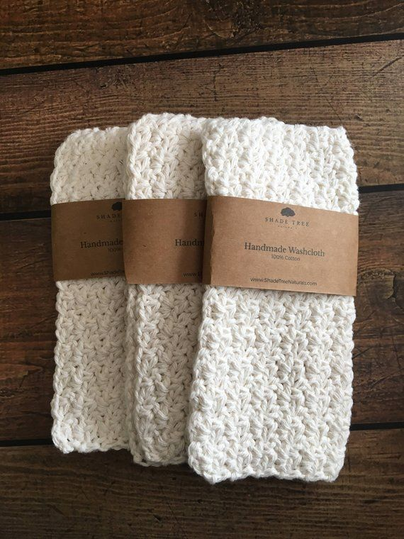 Crochet Washcloth Set Face Cloth Set Of 3 Natural Cotton Wash