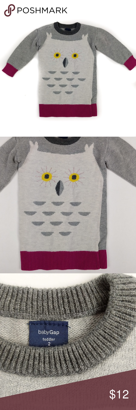 9166c30d1 Baby Gap Girls Long Sleeve Gray Owl Sweater 2 2T