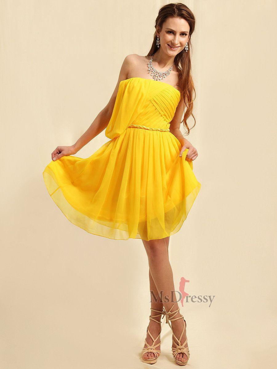 Strapless chiffon sweep train daffodil pleating party dress