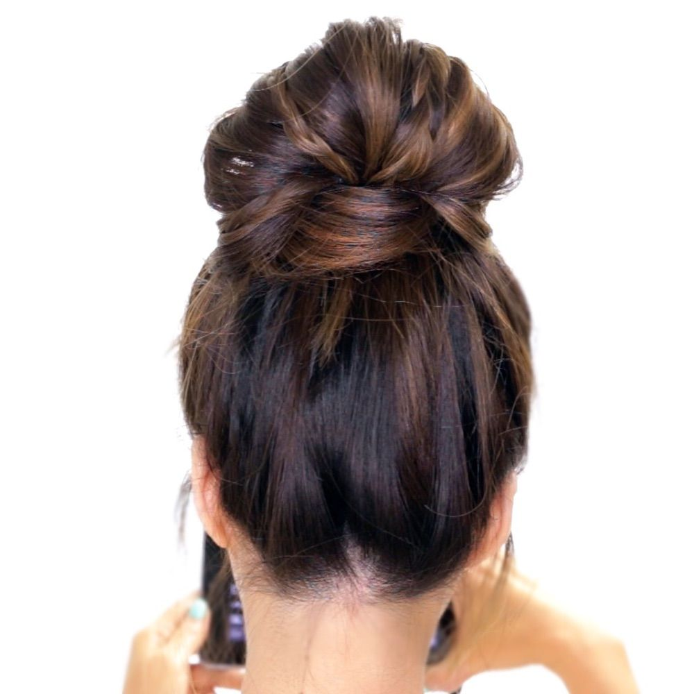 Such an easy hairstyle heres how you can create a bubble messy bun such an easy hairstyle here how you can create a bubble messy bun with braids on yourself in 3 minutes solutioingenieria Images