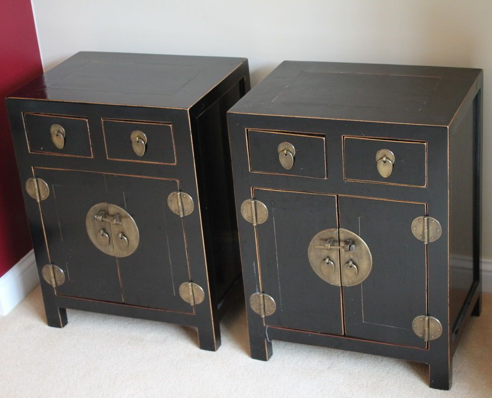 A Matching Pair Of Antique Chinese Original Furniture 2 X Bedside