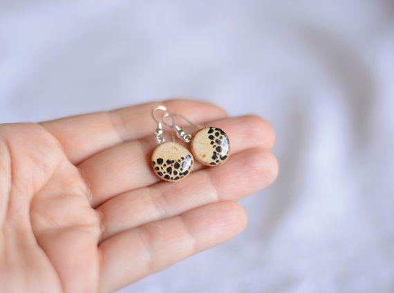 Wild dangle earrings leopard earrings by MyPieceOfWood on Etsy