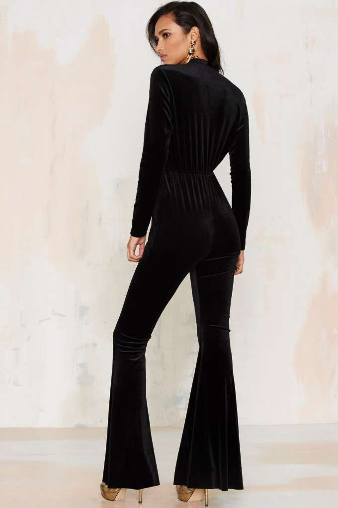 5fd1ebe14be07 Bell It Like It Is Velvet Jumpsuit - Clothes
