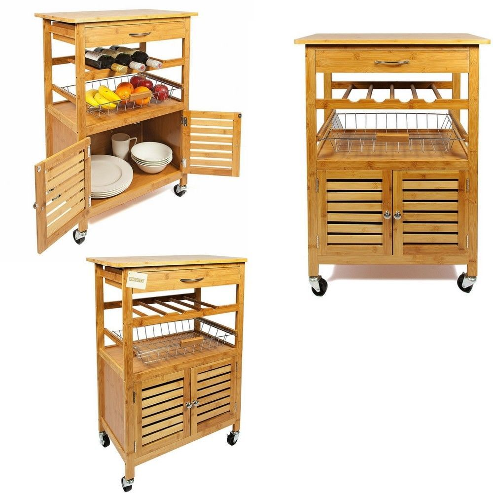 Wooden Kitchen Trolley Bamboo Portable With Drawer Basket Cabinet Wine Rack