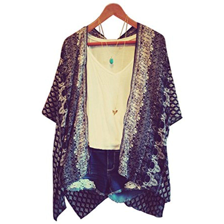 Women Crop Sleeves Loose Bating Kimono Cardigan Blouse Top ...