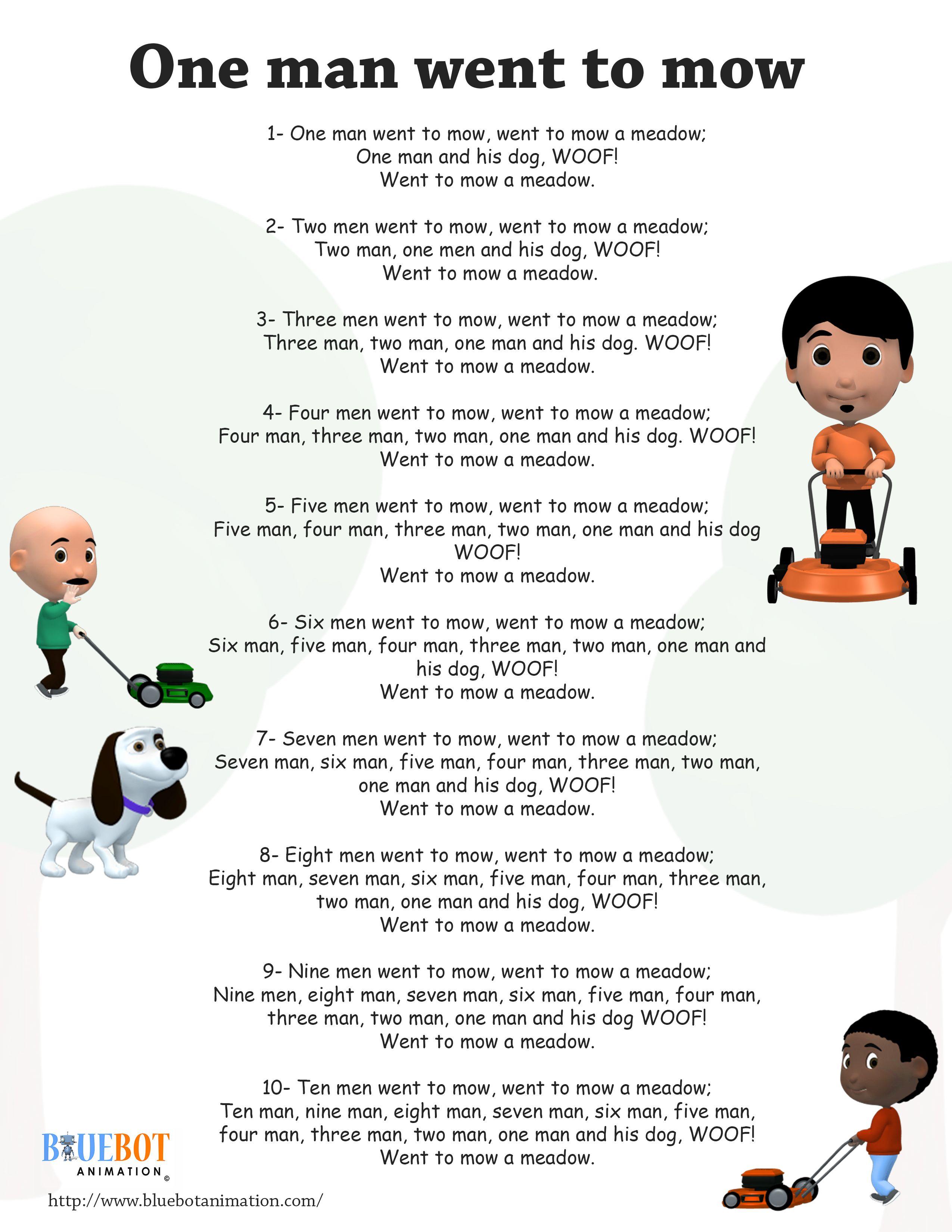 10 Men Went To Mow Nursery Rhyme Lyrics Free Printable Nursery Rhyme Lyrics Page 10 Men Went