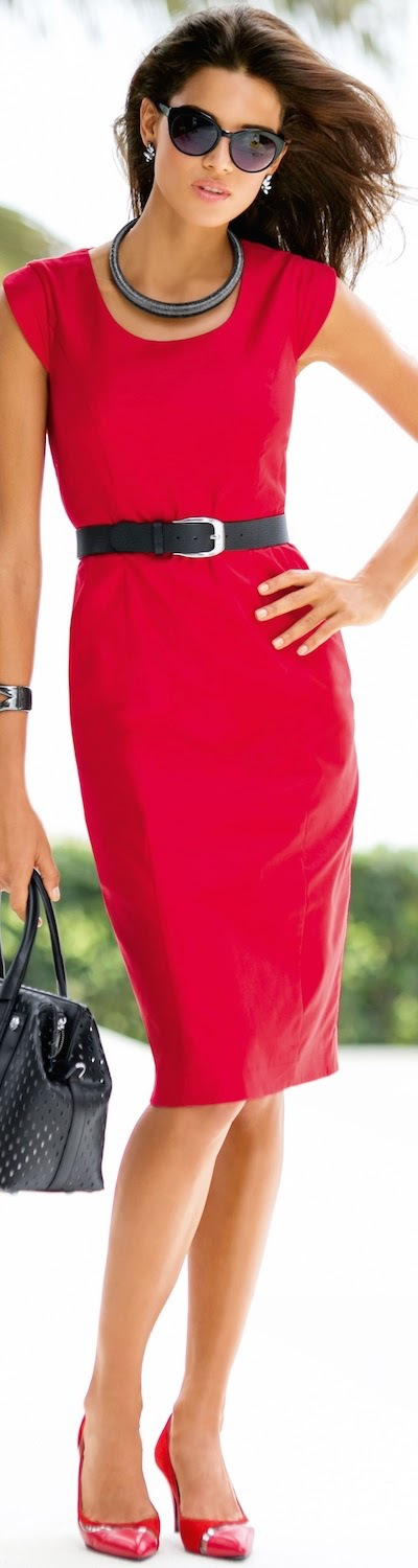 Sophisticated - simple dress in bright color - though I would recommend against the necklace, and a thinner  more elegant belt