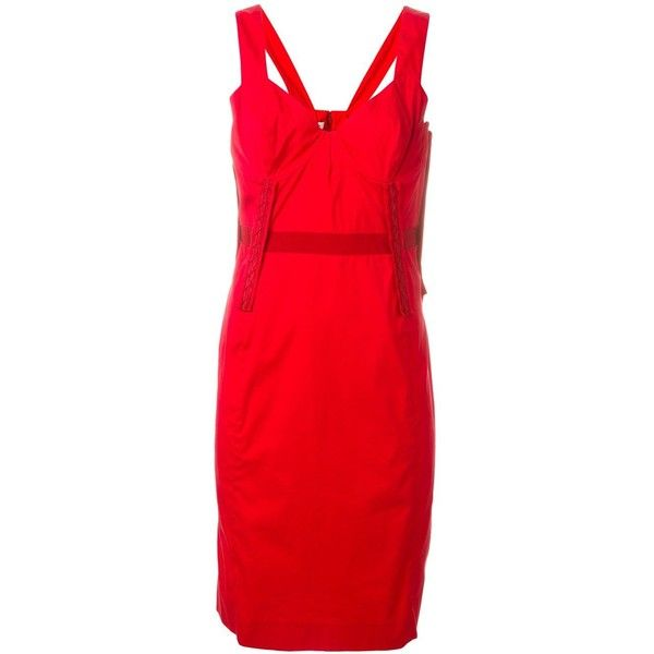 Prada Vintage fitted dress (€450) ❤ liked on Polyvore featuring dresses, red, red dress, sweetheart neckline dress, red knee length dress, knee length dresses and vintage dresses