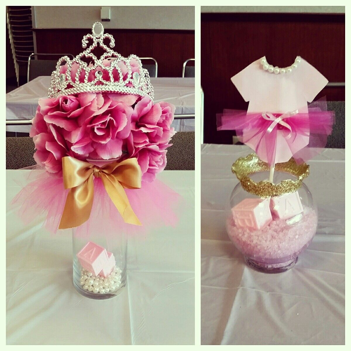 Tutus tiaras baby shower centerpieces pinkandgold my for Baby shower decoration ideas homemade