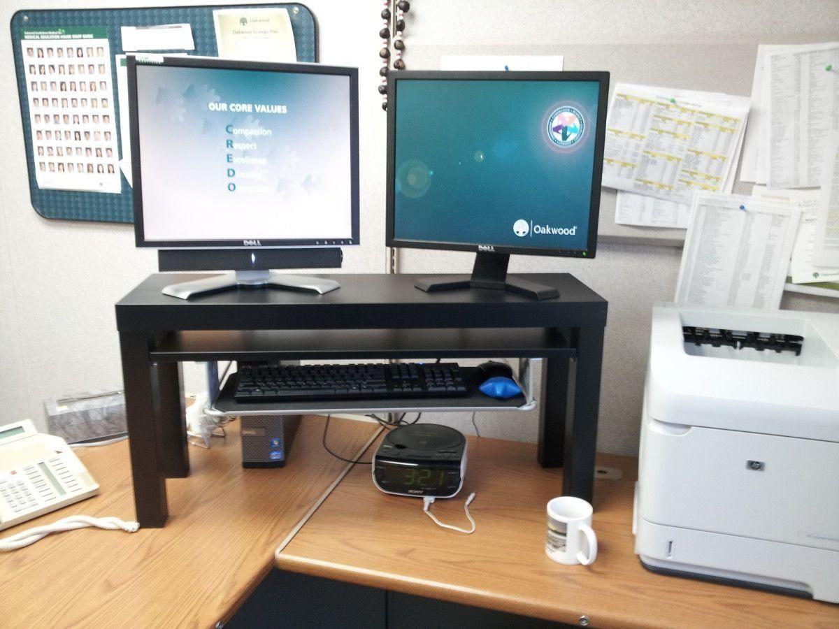 25 Standing Desk Hack From Lack Tv Unit Summera Ikea Hackers 1000 In 2020 Standing Desk Hack Desk Hacks Diy Standing Desk