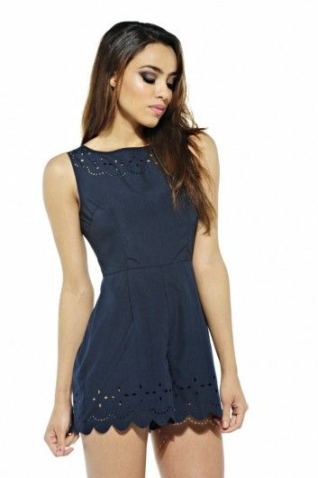 94ca983565b Laser Cut Playsuit Price  £25.00 Item code  PW047NAVY This gorgeous plain  style playsuit