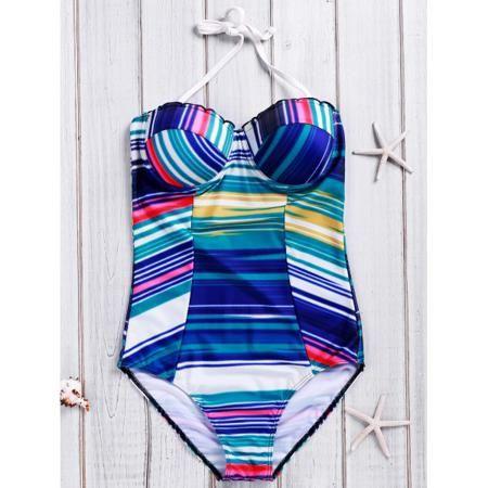 Trendy Halter Multicolor Striped Push-Up Women's Swimwear