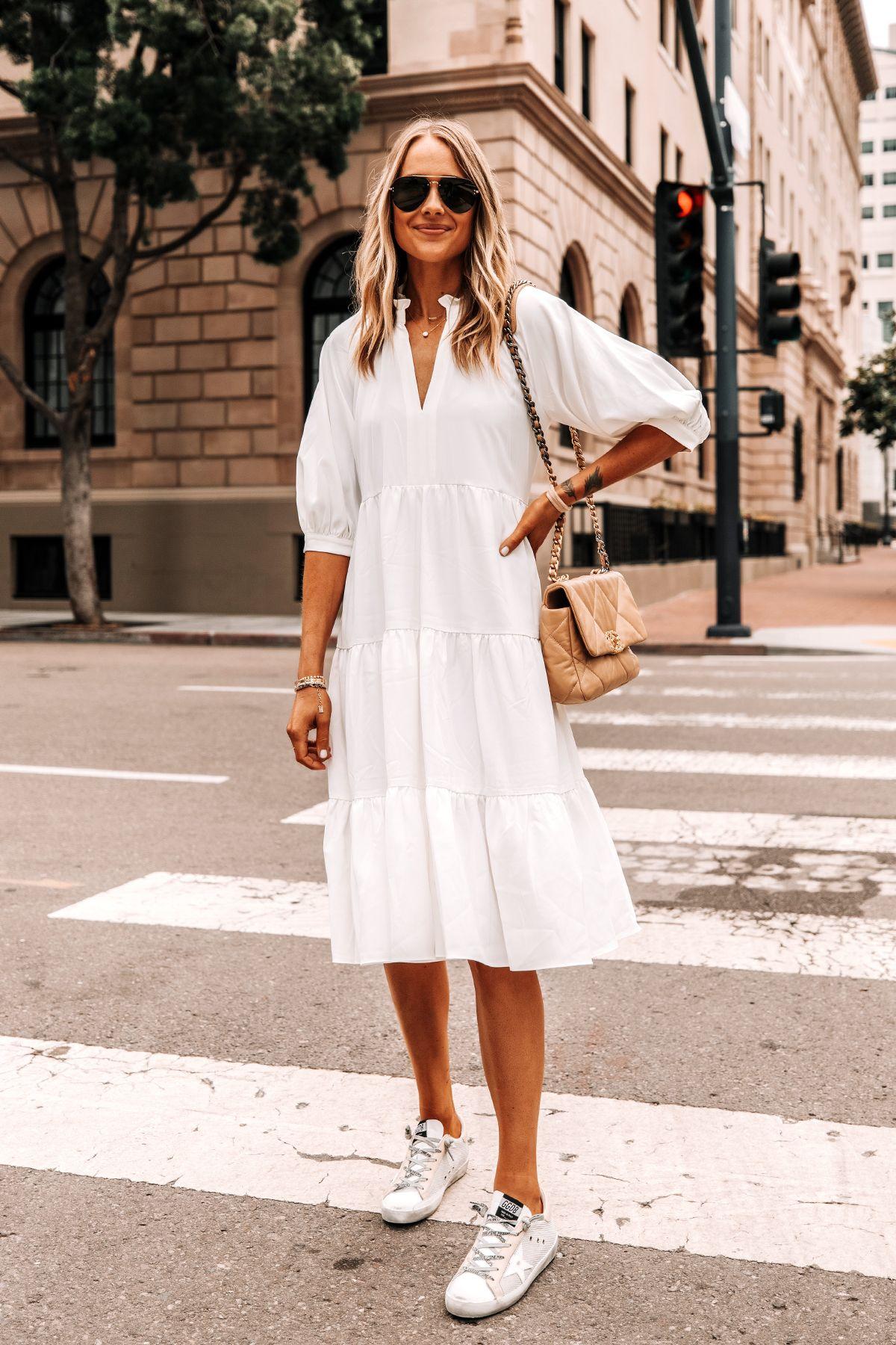 Fashion Jackson Wearing White Tiered Midi Dress Golden Goose Super Star Sneakers 1 White Dress Summer White Dress Outfit Dress With Sneakers [ 1800 x 1200 Pixel ]
