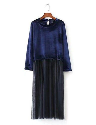 5dcb6492e46ca Kadın Dışarı Çıkma Günlük/Sade Sade Sokak Şıklığı Salaş Elbise Solid Kırk  Yama,Uzun