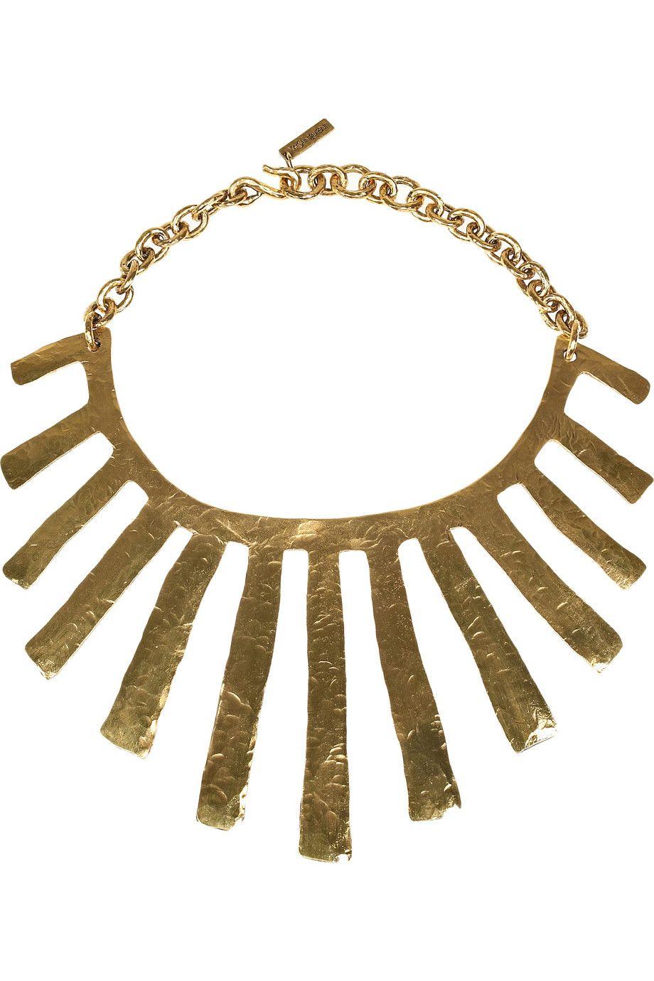 Yves saint laurent fringes karat goldplated necklace neta